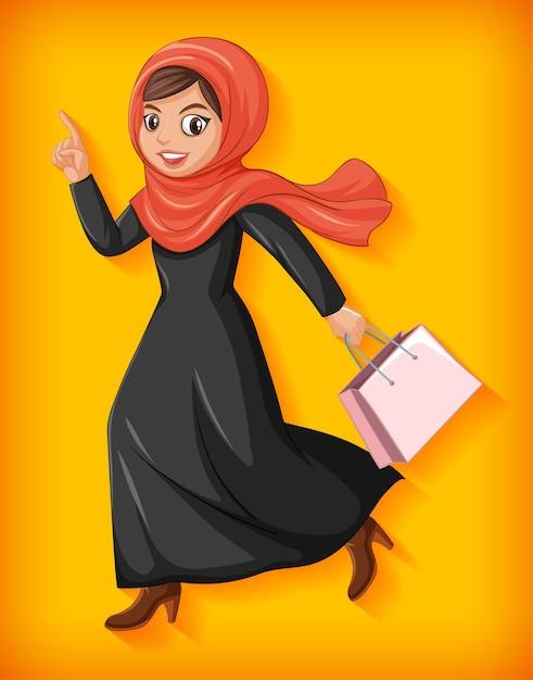美しいアラビアの女性の漫画のキャラクター 無料ベクター