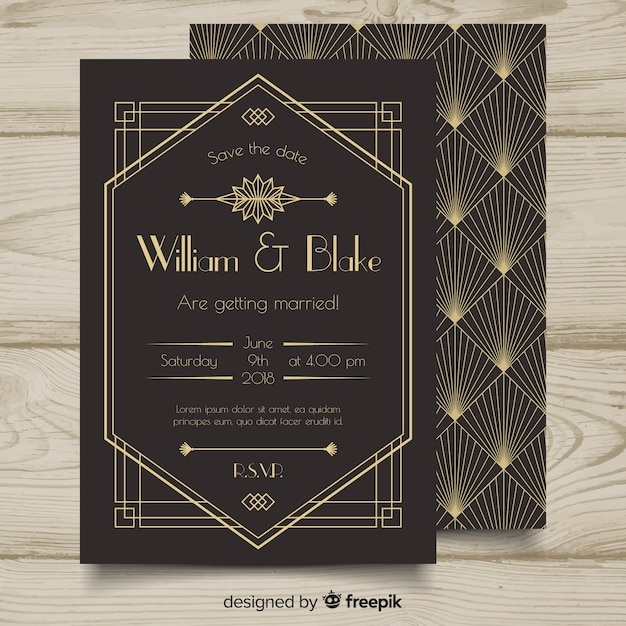 Art Deco Wedding Invitation: Beautiful Art Deco Wedding Invitation Template Design