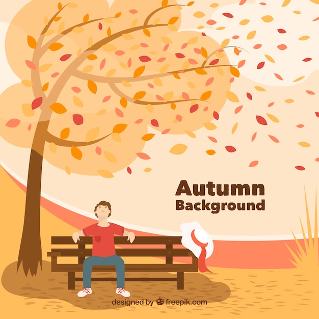 Beautiful autumn background with flat design Free Vector