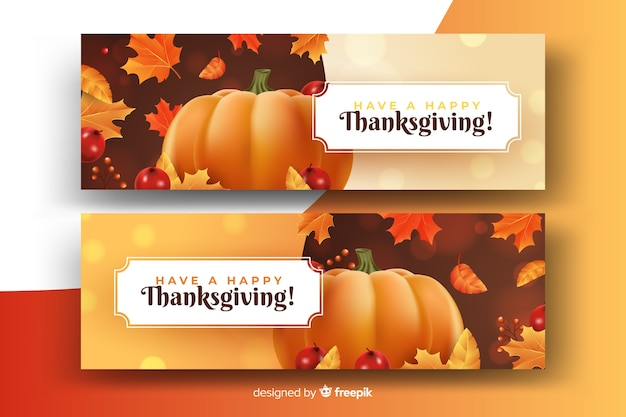 Beautiful autumn concept on realistic thanksgiving banners Free Vector