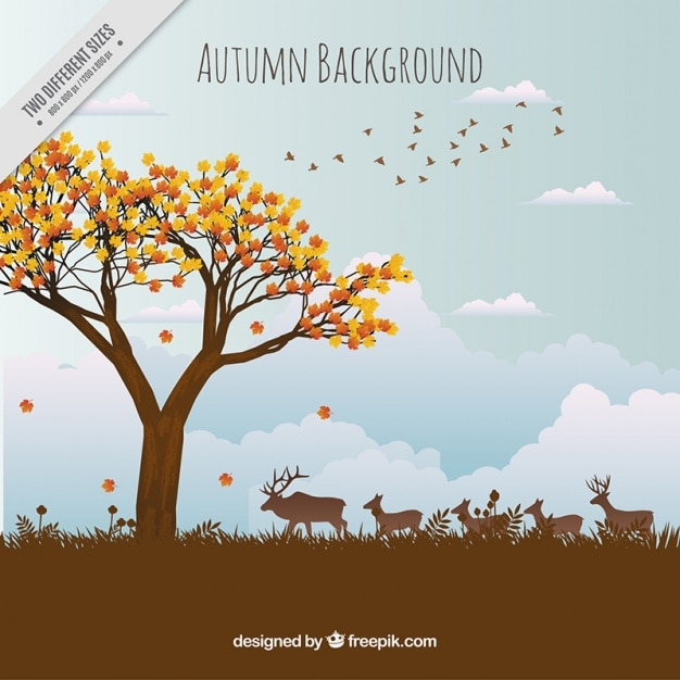 Beautiful autumn landscape background with animals Free Vector