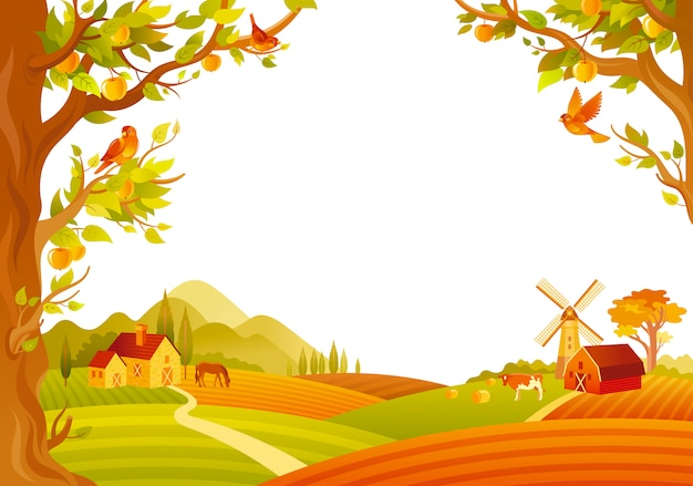 Beautiful autumn landscape. fall countryside with barn, mill, apple trees. vector illustration. Premium Vector