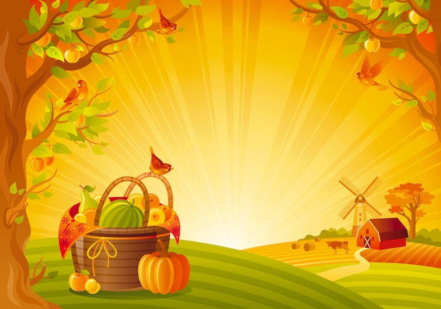 Beautiful autumn landscape. fall countryside with picinic basket and pumpkin. thanksgiving and harvest festival vector illustration. Premium Vector