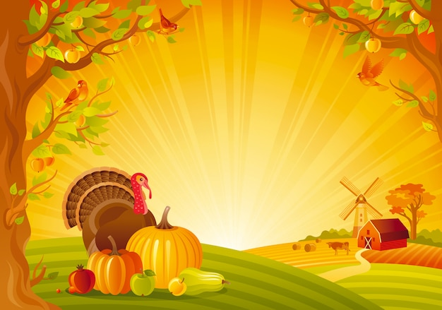 Beautiful autumn landscape. fall countryside with turkey and pumpkin. thanksgiving and harvest festival vector illustration. Premium Vector