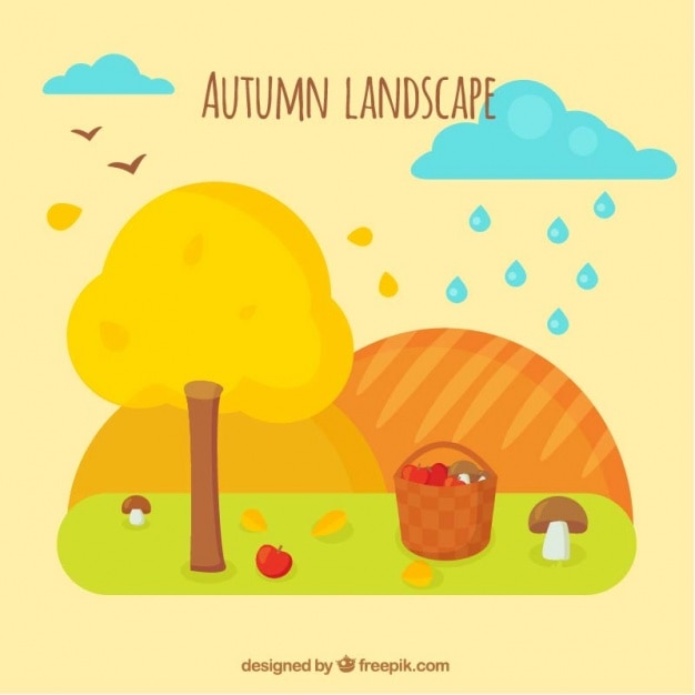 Beautiful autumn landscape with basket