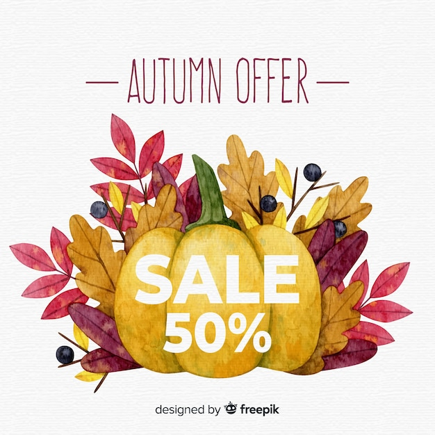 Beautiful autumn sales background in watercolor style Free Vector
