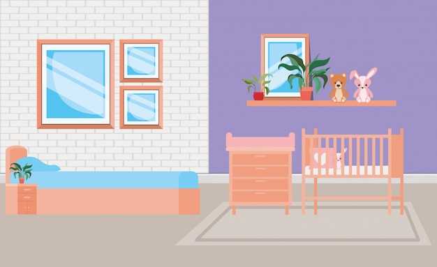 Beautiful baby bed room scene Free Vector