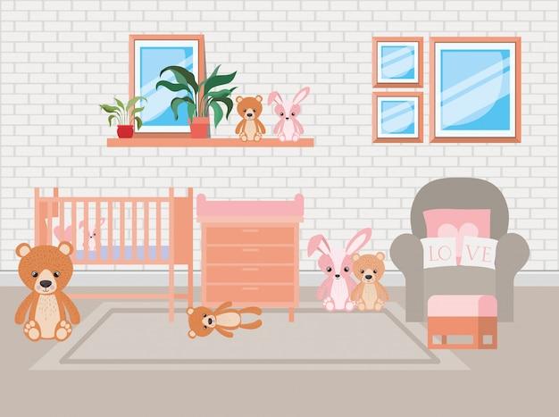 Beautiful baby bed room scene Free Vector