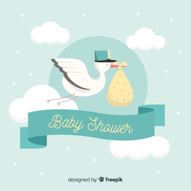Beautiful baby shower background Free Vector
