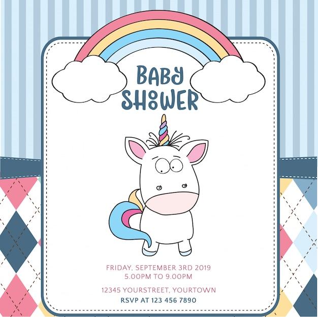 Beautiful Baby Shower Card Template Premium Vector