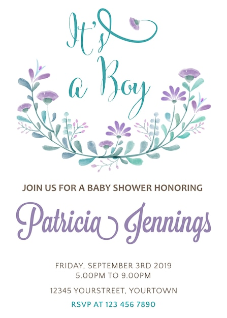 Beautiful baby shower invitation with watercolor flowers Vector ...