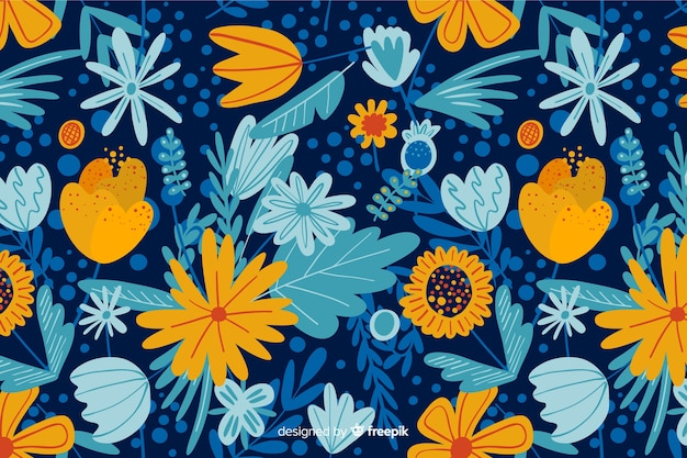 Beautiful background of colorful flowers Free Vector