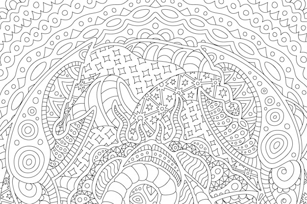 Beautiful background for coloring book with cancer Premium Vector