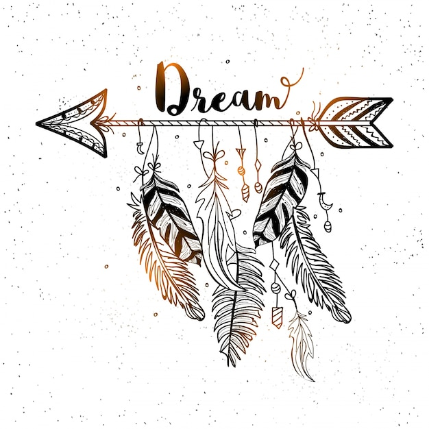 Beautiful background of decorative arrow with feathers in boho style Premium Vector
