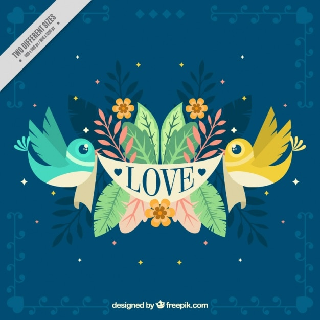 Beautiful background with birds and floral\ elements