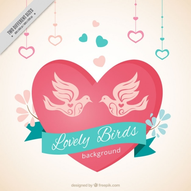 Beautiful background with birds and hearts\ hanging
