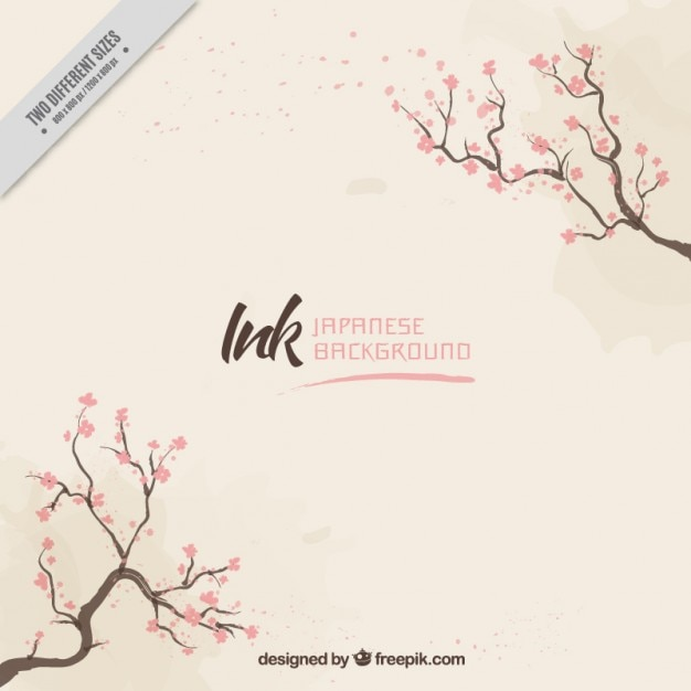 Beautiful background with branches and flowers Free Vector