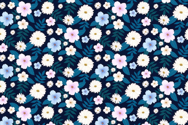 Beautiful background with different flowers Free Vector