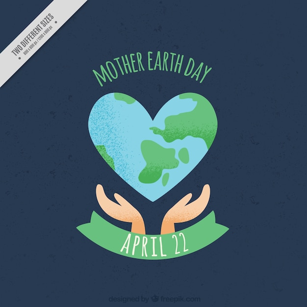 Beautiful background with earth in heart-shaped Free Vector