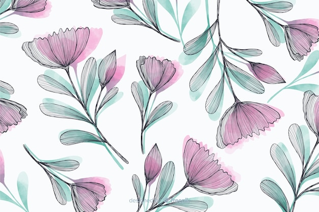 Beautiful background with hand drawn flowers Free Vector