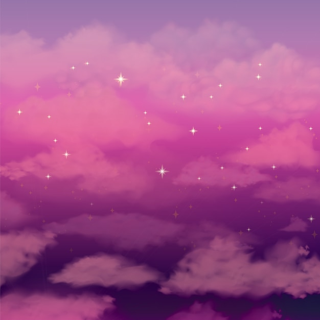 Beautiful background with pink clouds sky Vector | Free ...