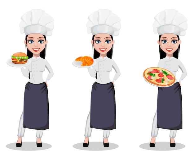 Красивая женщина пекарь в профессиональной форме Premium векторы
