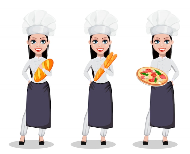 Красивейшая женщина хлебопека Premium векторы