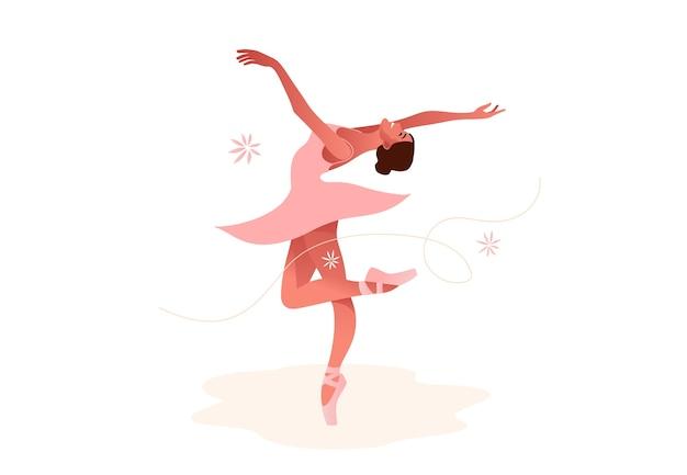 Beautiful ballerina flat  set illustration. beauty of classic ballet. young graceful woman ballet dancer wearing tutu. pointe shoes, pastel colors. Premium Vector