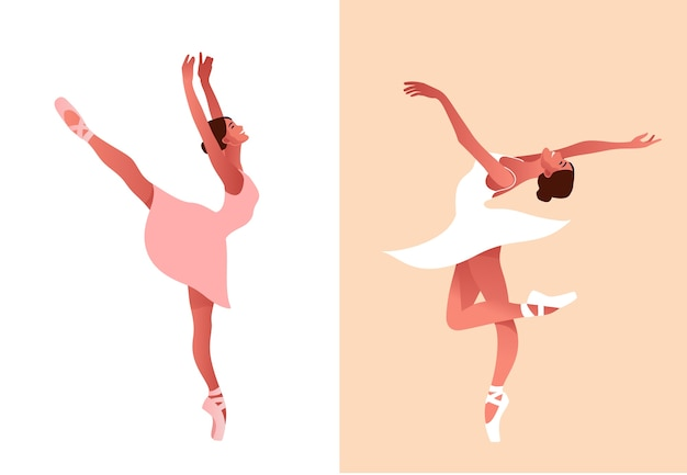Beautiful ballerina flat  set illustration. beauty of classic ballet. young graceful woman ballet dancer wearing tutu. pointe shoes, pastel colors. Premium Vector