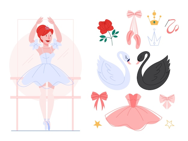 Beautiful ballerina performing dance, woman practicing in ballet dress and shoes. ballet set, black and white swan, tiara.  illustration in  style. Premium Vector