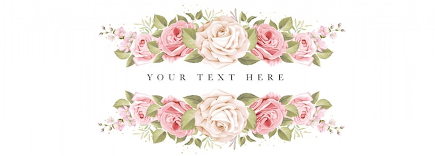 Beautiful banner floral and leaves template Free Vector