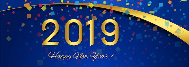 beautiful banner happy new year 2019 text design free vector