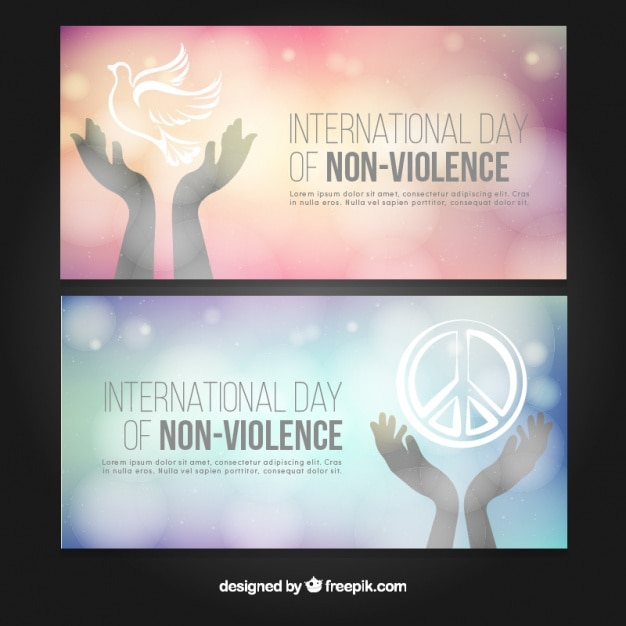 Beautiful banners for the day of non violence Free Vector