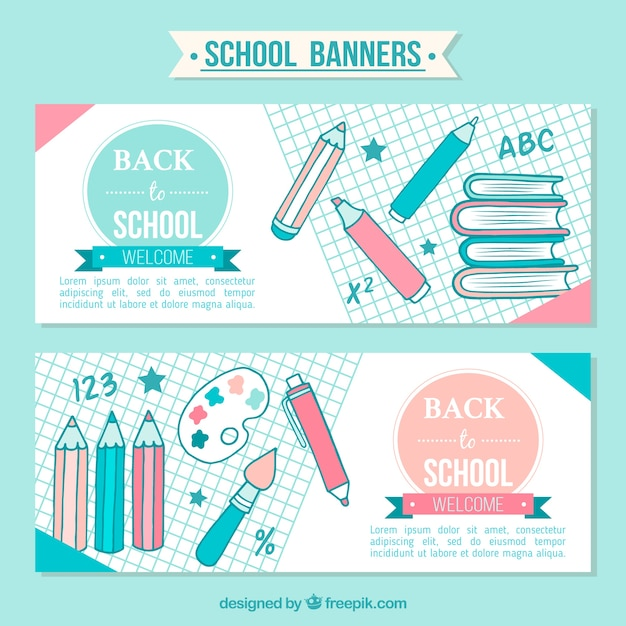 Beautiful banners of back to school with hand drawn pencils Free Vector