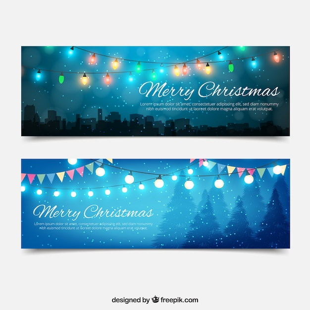 Turquoise Christmas Lights.Beautiful Banners With Christmas Lights Vector Free Download