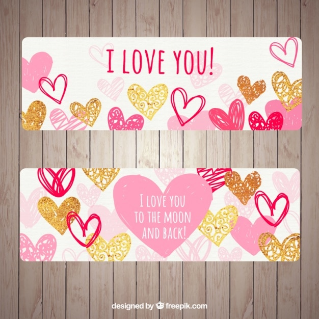Beautiful banners with different types of hearts Free Vector