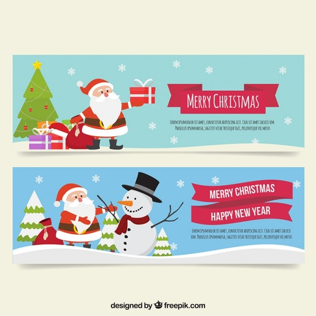 Beautiful banners with snowflakes and santa claus Free Vector