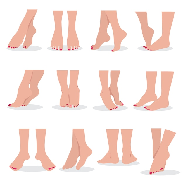 Beautiful bare woman feet and legs isolated, female body parts attractive beauty  set Premium Vector