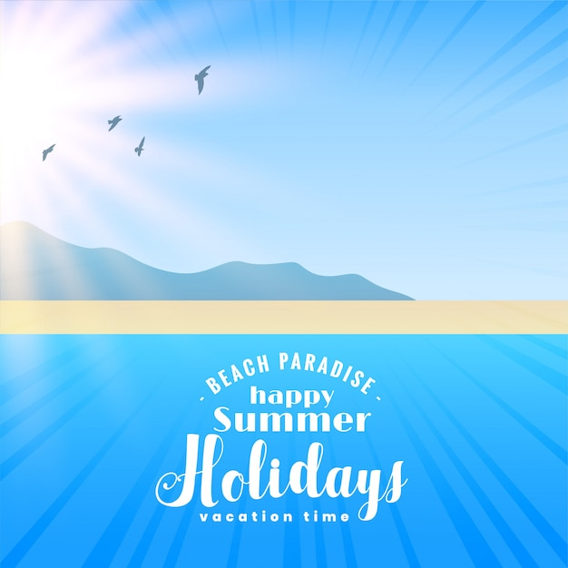 Beautiful beach scene with sun and flying birds Free Vector