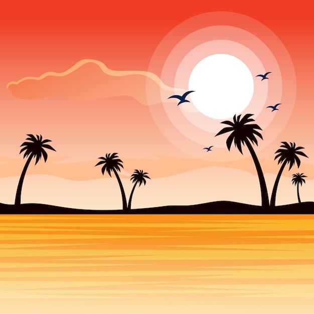 Beautiful Beach Sunset Landscape Of Nature Premium Vector