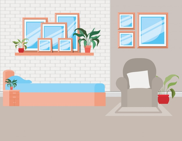 Beautiful bed room house scene Free Vector