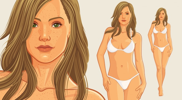 Beautiful bikini girl Premium Vector