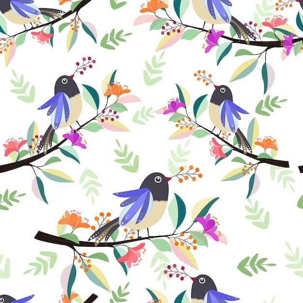 Beautiful bird on branch with flower seamless pattern. Premium Vector