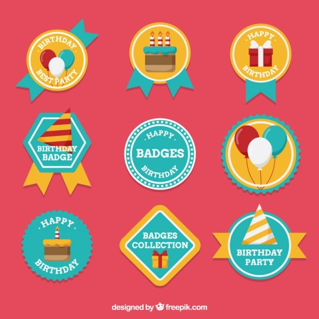 Beautiful Birthday Badges Vector Premium Download