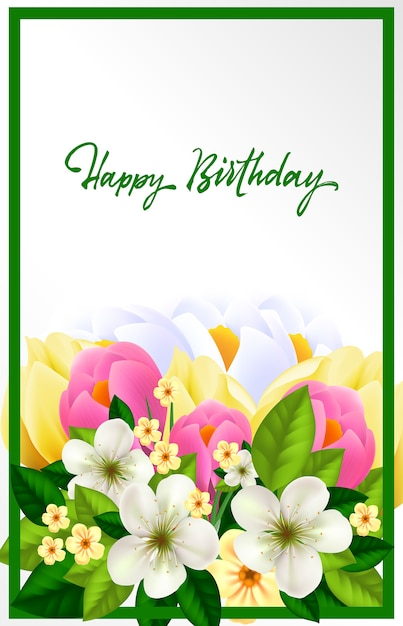 Beautiful Birthday Card Vector Free Download