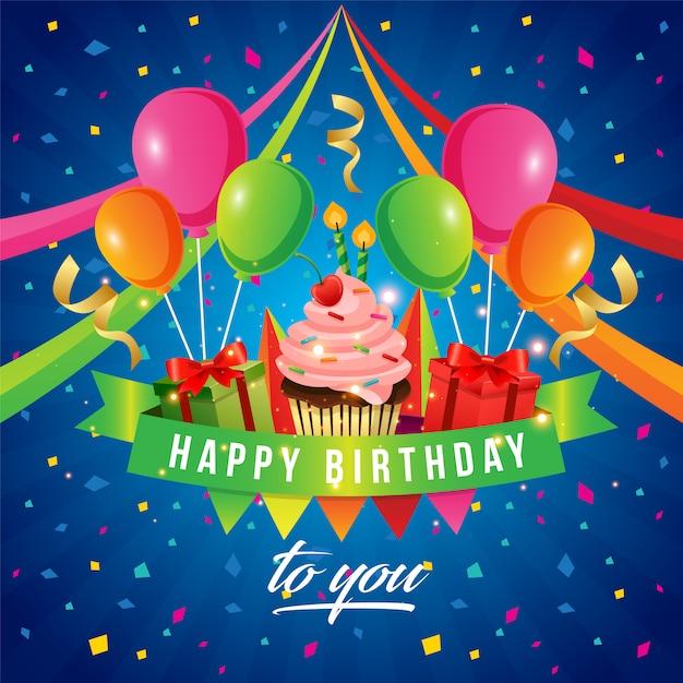 premium vector  beautiful birthday card