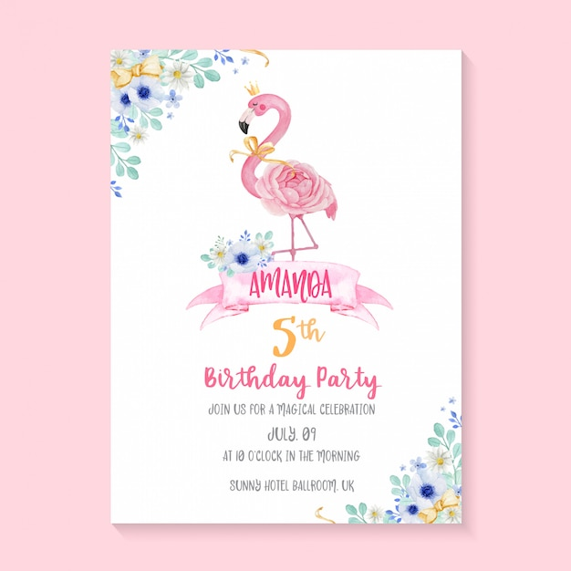 Beautiful birthday party invitation template with hand painted watercolor flamingo and flower illustration Premium Vector