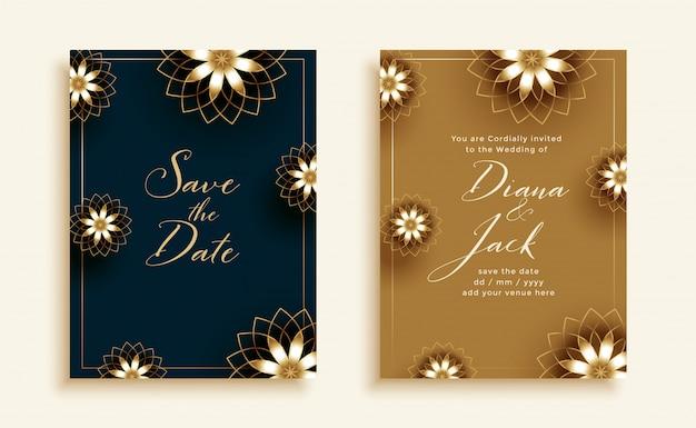 아름다운 검정색과 금색 결혼식 초대 카드 무료 벡터