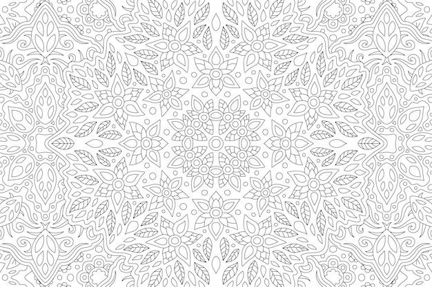 長方形の線形花柄の大人の塗り絵の美しい黒と白のイラスト Premiumベクター