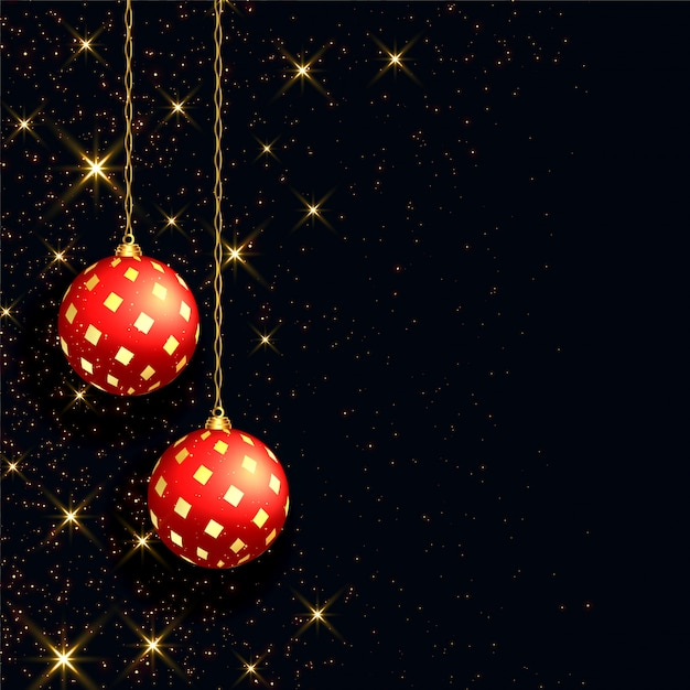 Beautiful black christmas background with realistic red ball Free Vector